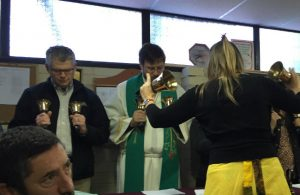 Rev. James Baneck, president of the North Dakota district, filled in for a sick hand bell choir member at worship.