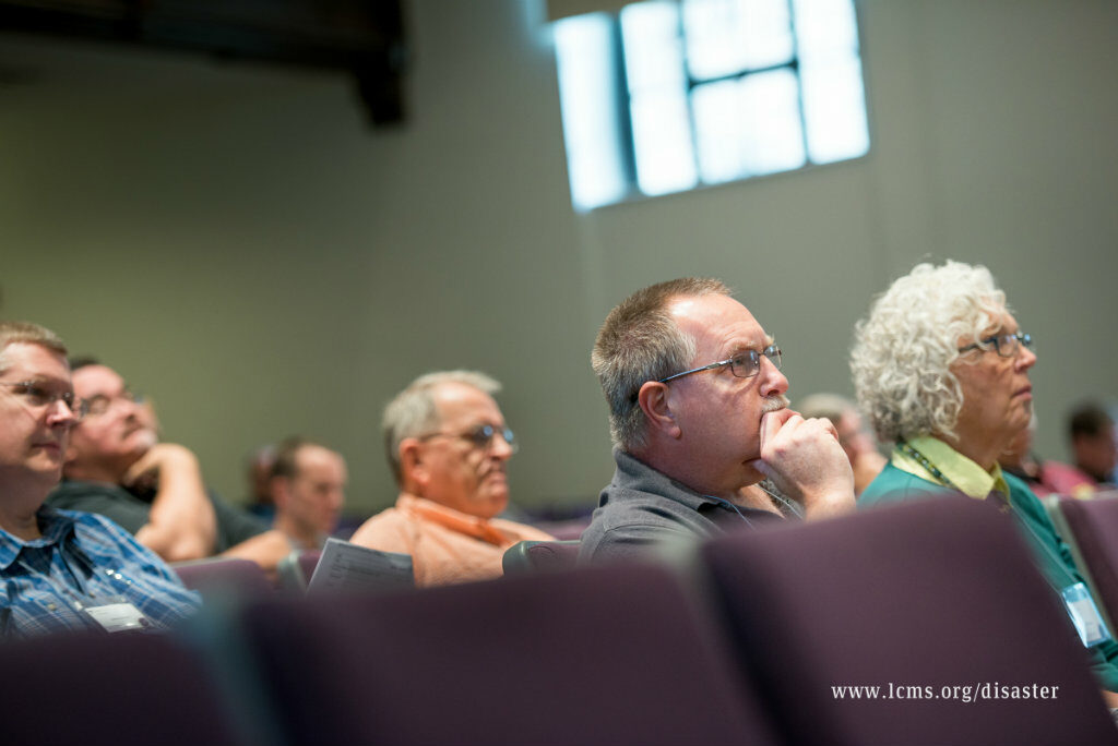 Participants listen during the 2015 National Disaster Response Conference on Tuesday, Oct. 6, 2015, at Concordia Seminary, St. Louis. LCMS Communications/Erik M. Lunsford