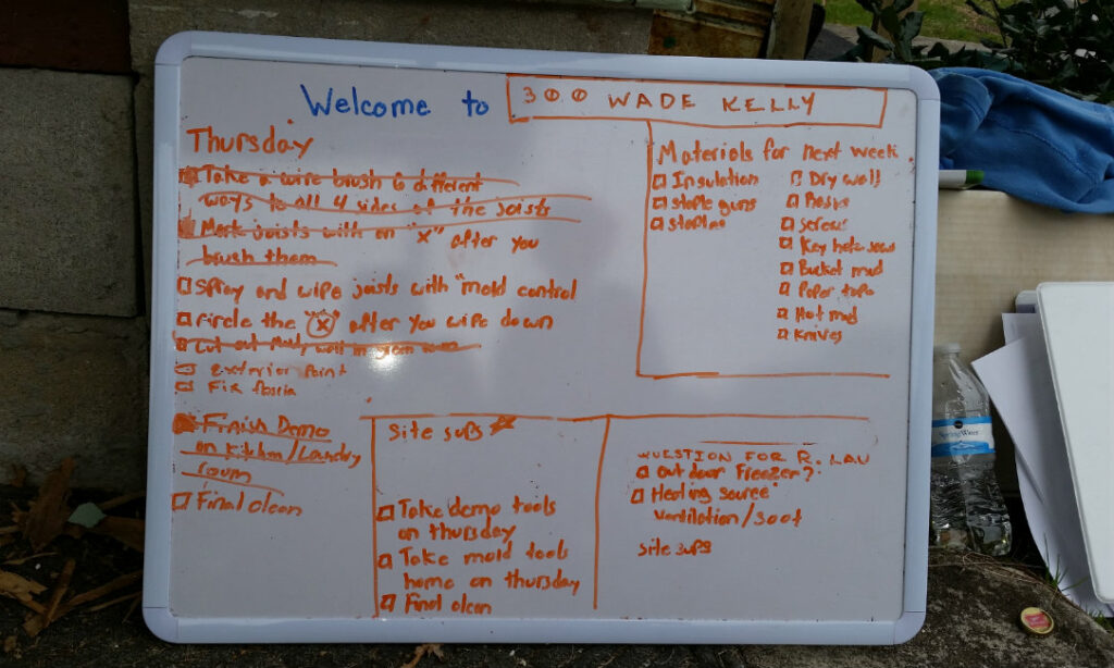 The task list for the volunteers from Valparaiso University responding to SC floods in March 2016