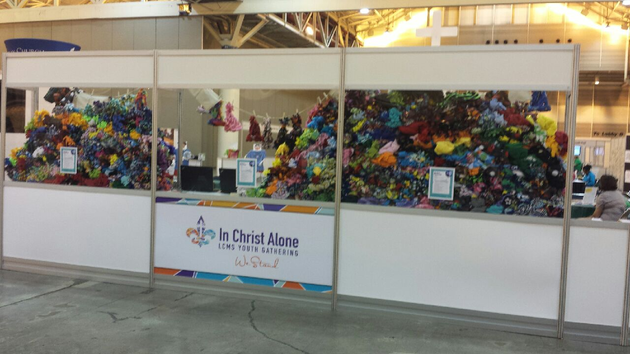 Over one thousand fleece hats were made in the LCMS Youth Ministry Booth at the 2016 LCMS Youth Gathering. The LCMS Servant Event coommitte lead the process.