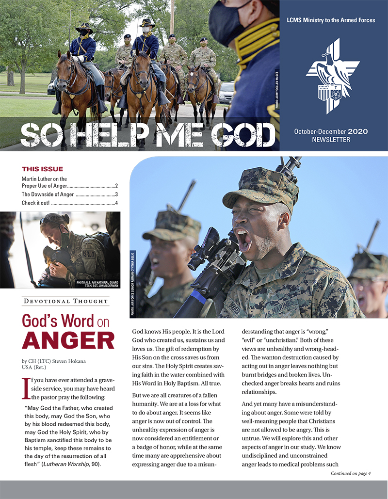 LCMS Ministry to the Armed Forces -- Newsletter -- So Help Me God -- Fourth Quarter 2020
