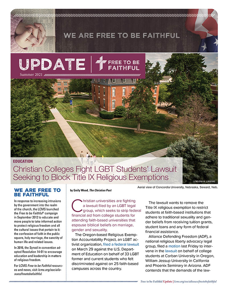 LCMS Free to be Faithful Newsletter - Summer 2021